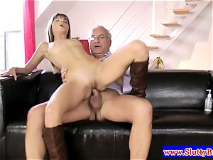dark-haired fledgling in lingerie penetrated from behind in hd