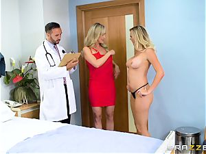 Brandi enjoy and Brett Rossi get down to business with the doctor