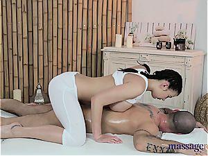 massage turns into railing lesson