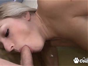 blond Kylee Reese riding on hefty fuckpole