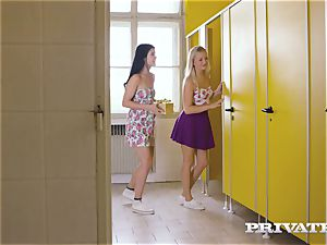 Private.com - all girl 3 way in the restroom