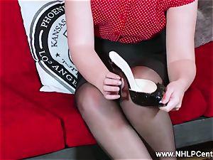 scorching babe peels off ebony underwear jerks in nylon garter