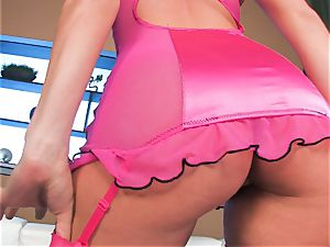 smallish jugged Tori dark-hued with her bubble arse in lingerie pantyhose