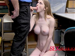 Nadya Nabakova is caught stealing by wild officer with ample manhood