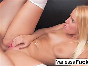 Pretty Vanessa gets inserted by a ginormous salami