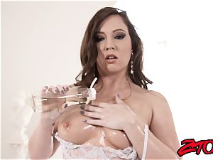 curvaceous Maddy Oreilly greases up for phat chisel insertion