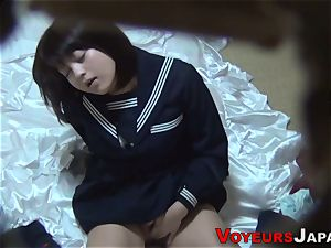 Uniformed chinese babe gropes