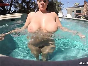 curvy Alison swims and masturbates in the pool
