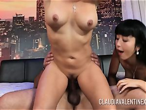 Claudia Valentine joins a couple for a three-way