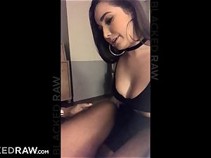 BLACKEDRAW Latina wifey bursts with 12 inch monster dark-hued rod