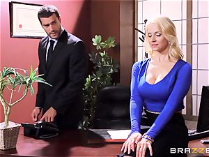 Sarah Vandella caught being horny in the office