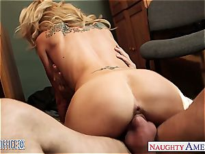 tatted light-haired Sarah Jessie smash in the office