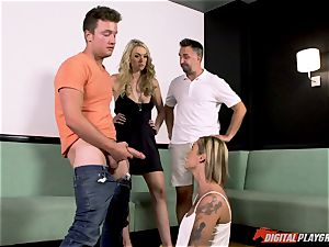 lezzies Kleio Valentien and her gf Keira Nicole tricked into fellating beef whistle