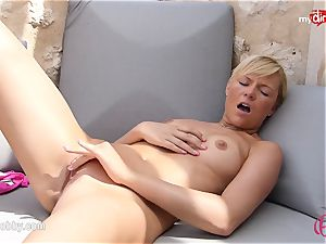 MyDirtyHobby - hot platinum-blonde stroking outdoor!