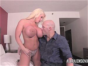 large tit blondie Alura Jenson pulverizing a nervous client