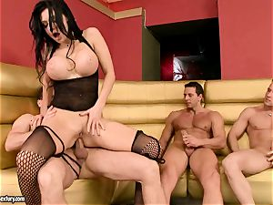 Aletta Ocean gets her cock-squeezing slots clogged with huge meatpoles anxious to jizz