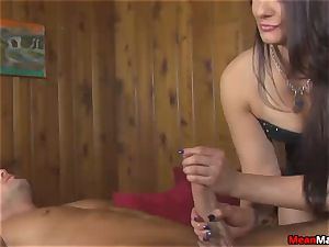 customer overwhelmed To witness The beautiful brown-haired massagist