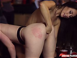 Red-headed whore Ella Hughes and fatal brown-haired Eva Lovia have fuckfest in a nightclub
