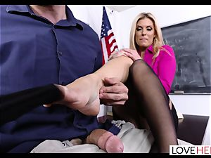 towheaded milf schoolteacher Gives a sizzling Lesson In foot intercourse