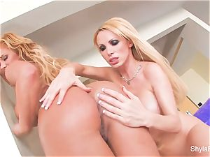 blonde honies Shyla and Nikki get together for some joy