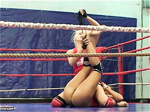 Brandy grin doing a struggle lady to damsel act