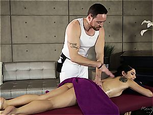 petite Gina Valentina gets oiled up and touched