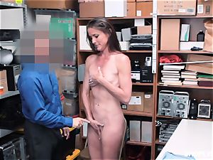 Sofie Marie unloaded nut sack deep by nasty mall cop