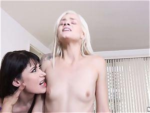 Milfy momma Eva Karera instructs hottie Elsa Jean how to suck huge chisel