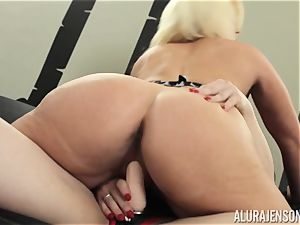 Alura Jenson vag filled with strap on dildo powerful muscular doll Brandi May