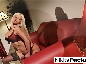 Nikita's ebony and red underwear solo