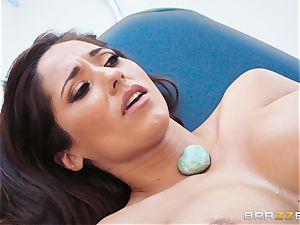 Reena Sky gasping on the massagists large jizz-shotgun