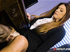 India Summers and Sunny Lane honeypot scissoring action in the office