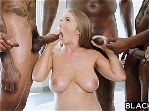 BLACKED Lena Paul very first bi-racial gang-fuck