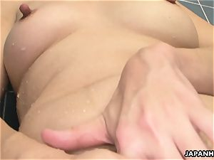 Solo big-boobed asian ditzy fondling on her raw labia