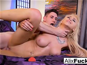 Alix Lynx jacks Brad's manstick with her cunt and mouth